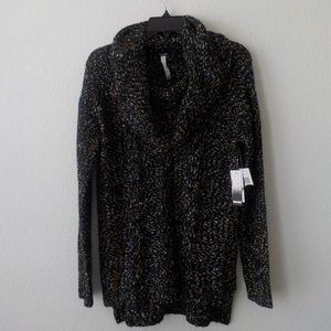 Kensie Small Cowl Neck Sweater Cable Knit Black Br